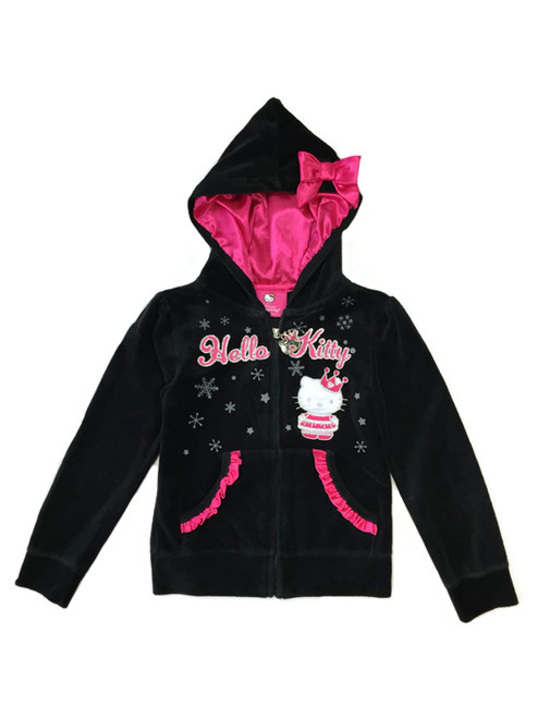 Sparkly Black Velour Zip Up Hoodie, Little Girls