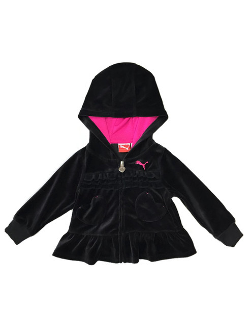 Black Velour Hoodie, Baby Girls