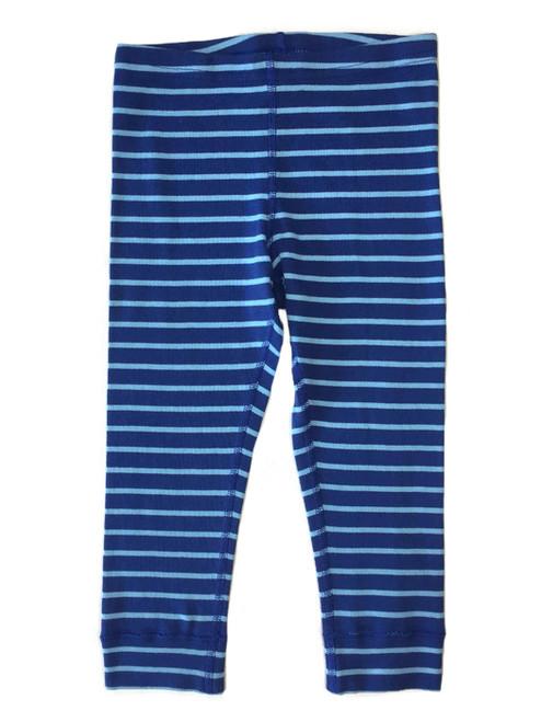 Blue Striped Cropped Leggings, Little Girls