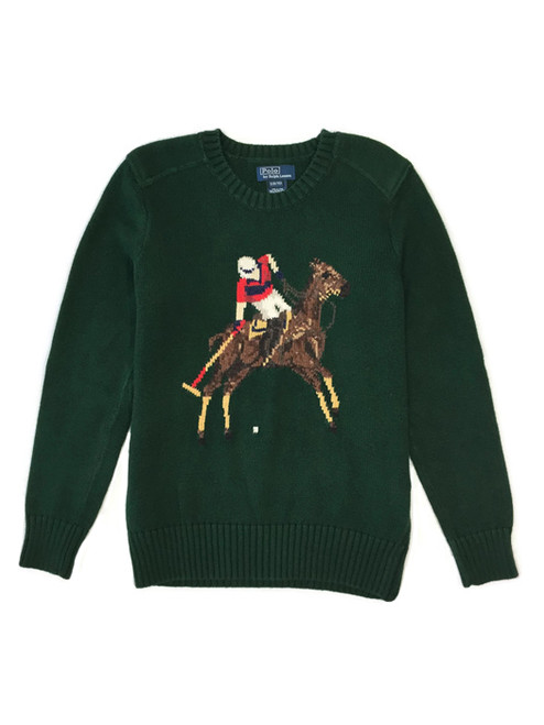 Dark Green Pullover Sweater, Little Boys