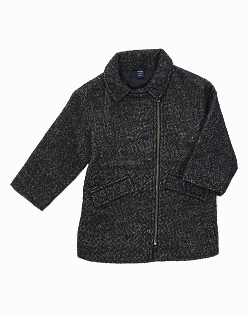 Gray Wool-Blend Herringbone Peacoat, Toddler Boys