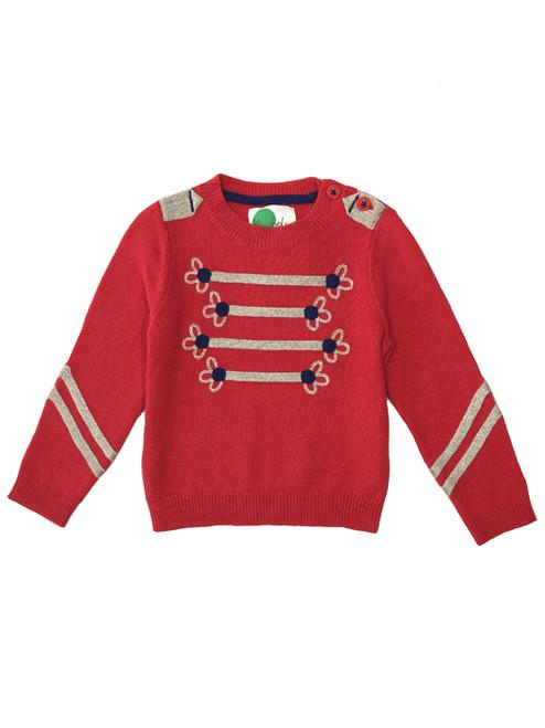 Rosehip Red Nutcracker Sweater, Toddler Girls