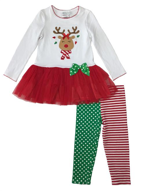 Reindeer Red Tutu Leggings Set, Toddler Girls