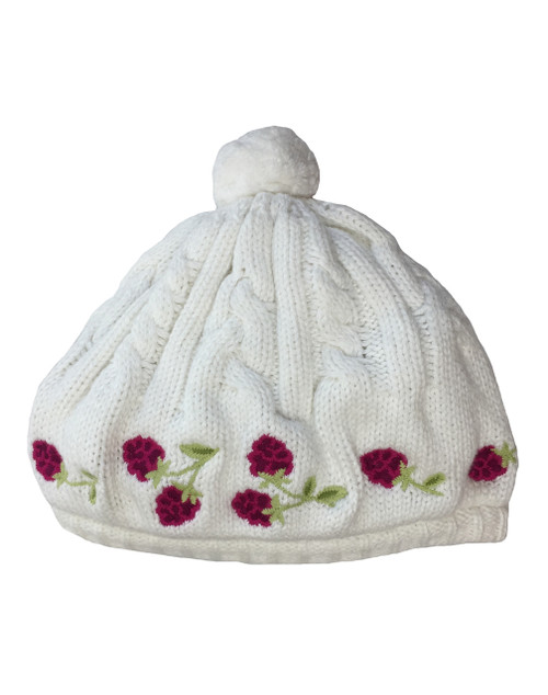 Raspberry Embroidered Sweater Hat, Little Girls