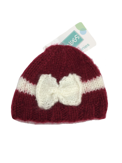 Ruby Red Bow Beanie Hat, Baby Girl