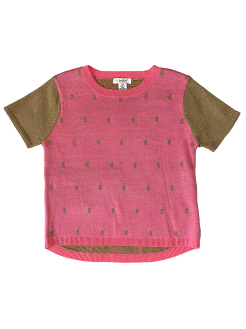 Pink and Metallic Gold Pullover Sweater, Little Girls
