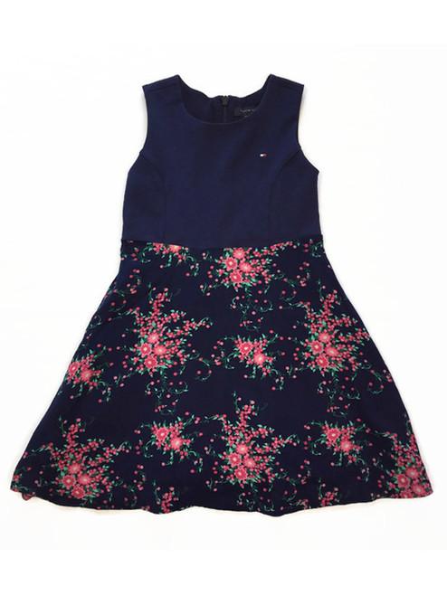 Navy Floral Dress, Little Girls