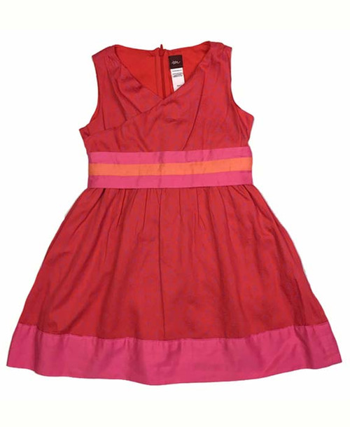 Coral Pink Kyra Banded Wrap Neck Dress, Little Girls