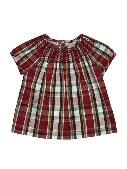 Holiday Smocked Red Plaid Silk Blouse, Toddler Girls