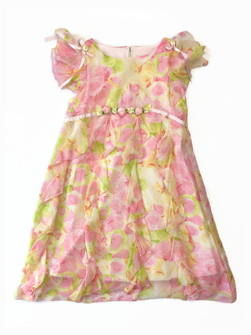 Pastel Roses Silk Ruffle Dress, Little Girls