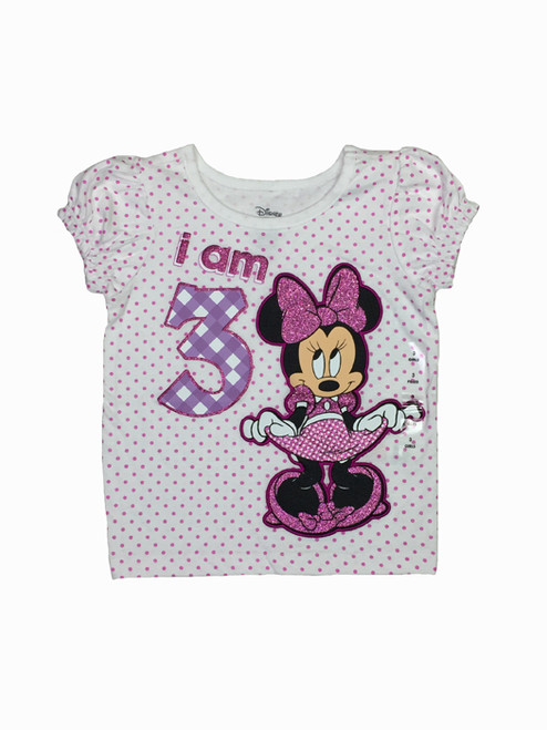 "Mini Mouse ""I Am 3"" Glitter Birthday Tee, Toddler Girls"