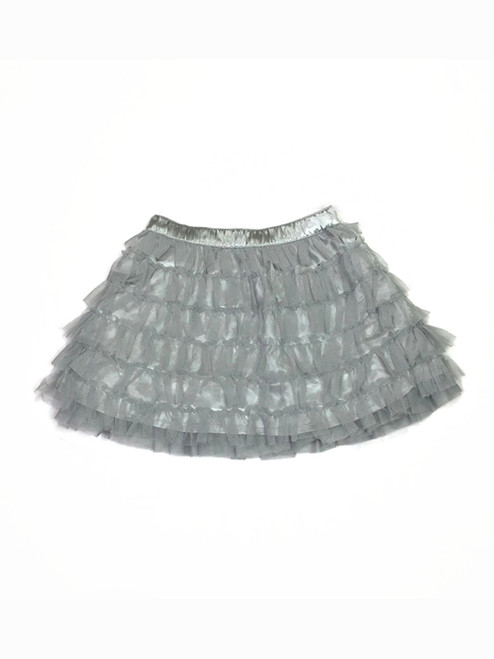 Silver Layered Tulle Ruffle Skirt, Toddler Girls