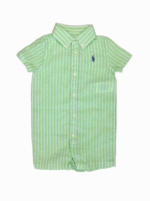 Green Striped Linen Romper/Shorttall, Baby Boys
