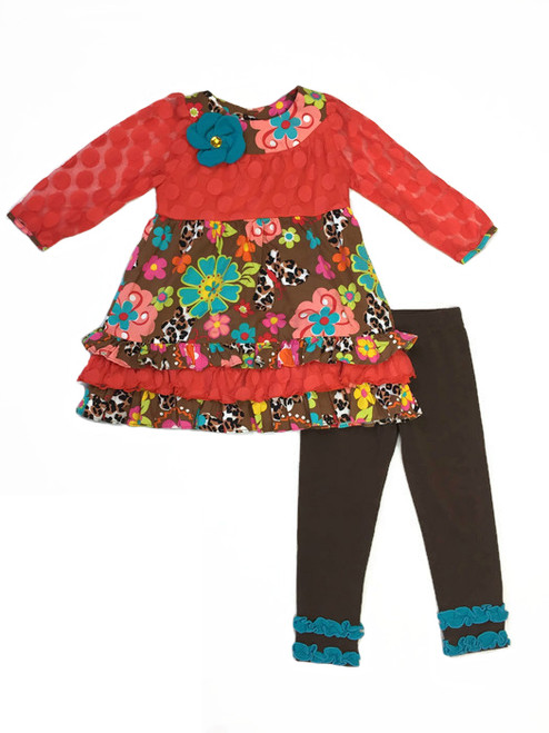 Flowers and Butterflies Tunic and Leggings Set, Toddler Girls