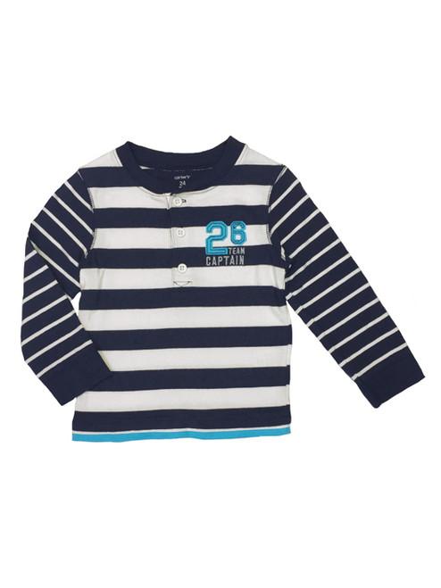 Navy Striped Long Sleeves Shirt, Baby Boys
