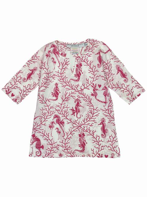 Pink Seahorse Tunic, Toddler Girls