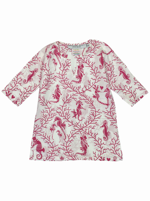 Pink Seahorse Tunic, Little Girls