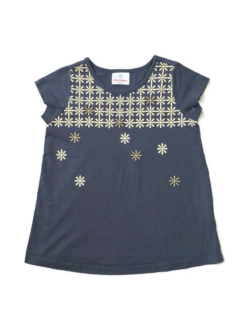 Light Gray Flower Print Shirt, Little Girls