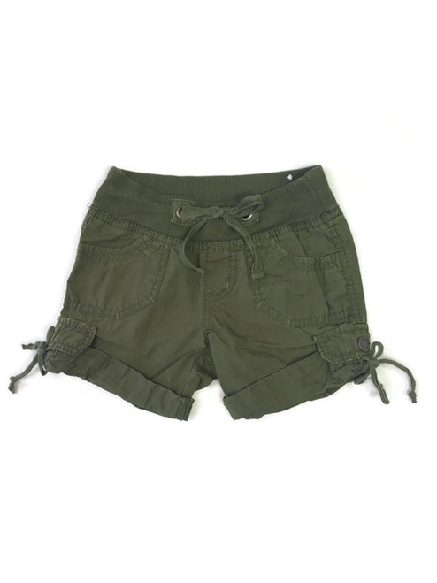 Olive Roll-Cuff Shorts, Little Girls