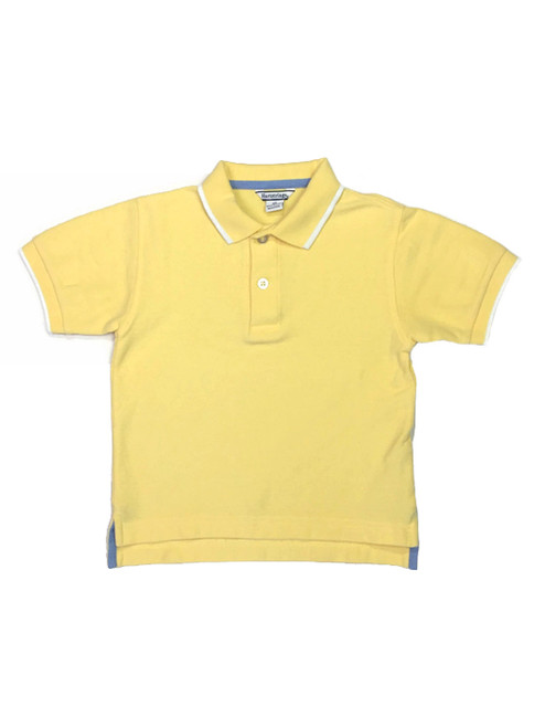 Yellow Tipped Pique Polo Shirt, Toddler Boys