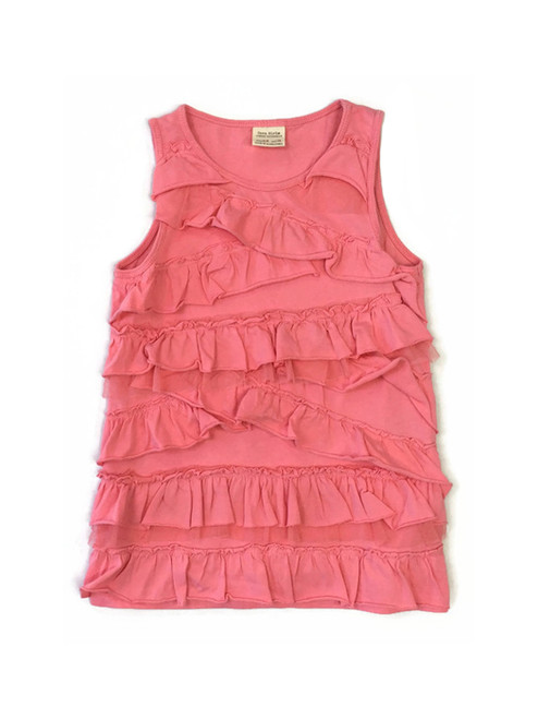 Coral Ruffle Tank Top, Little Girls