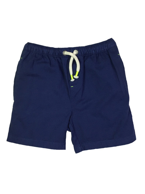 Solid Navy Drawstring Shorts, Little Boys