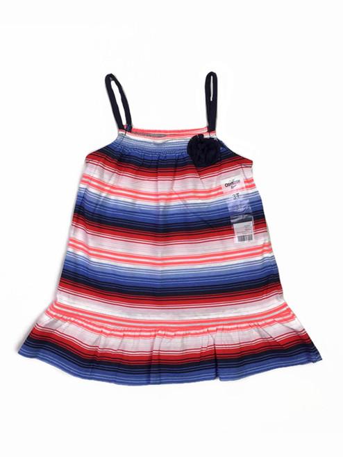 Red White & Blue Striped Smocked Tank Top, Toddler Girls