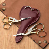 Stork Style Embroidery Scissors with Leather Case