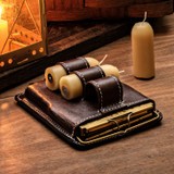 Lantern, Leather Case + Beeswax Candles