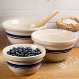 Set of Three USA Made Classic Stoneware Mixing Bowls