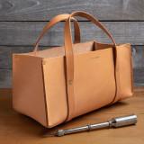 Portable Leather Tool Bag- Tan