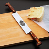 Historical 2 Handed Cheese Knife 25 cm, Stainless Red Wood Handle