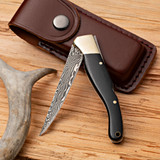 """7-½"""" Damascus steel & Ebony Handled Folding Knife"""