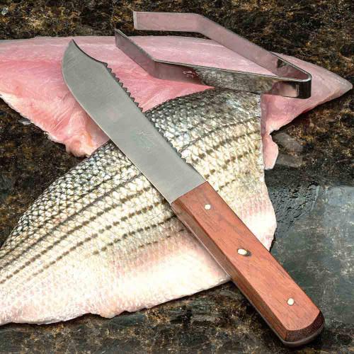 Vintage Fish Scaling Knife & Bone Tongs
