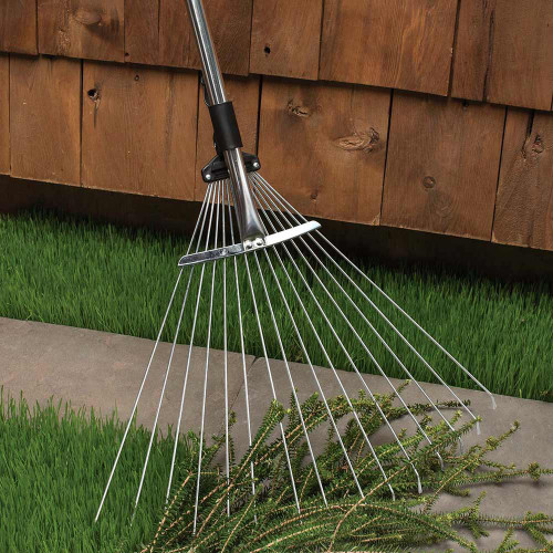Collapsing Garden and Leaf Rake with Extendable Handle