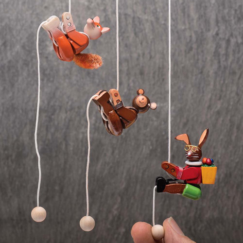 Hand Carved Pull-Up Animal Toys