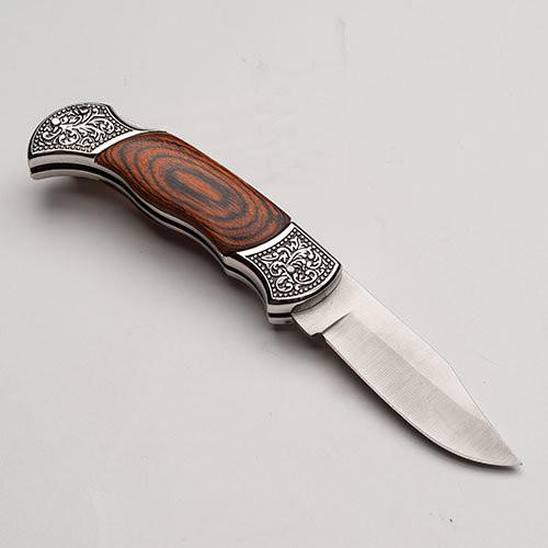 "Wood Handled Folding Knife, 3"" Blade"