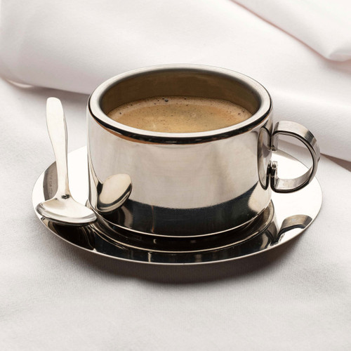 Insulated Stainless Steel Coffee Cup, Saucer