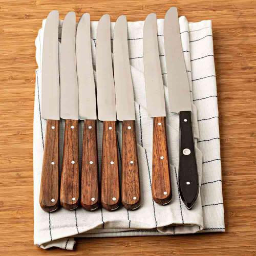 Table Knife Redwood Handles Set of 6
