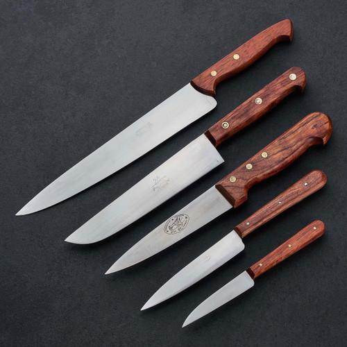 Set of Five Vintage Rosewood Kitchen Knives