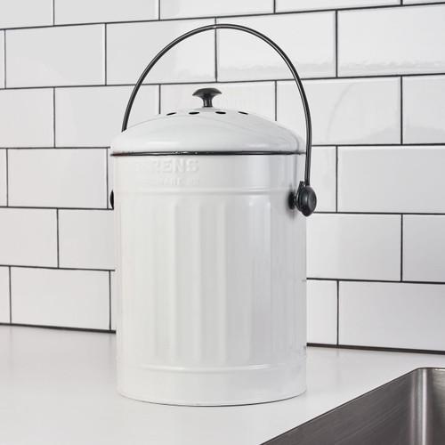 1.5 Gallon Compost Pail in White