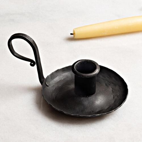 Hand-Forged Iron Chamberstick & Candlesticks