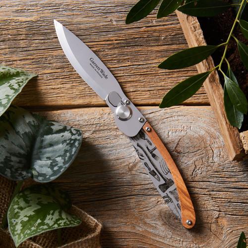 Engraved Garden Tool Folding Knife - open