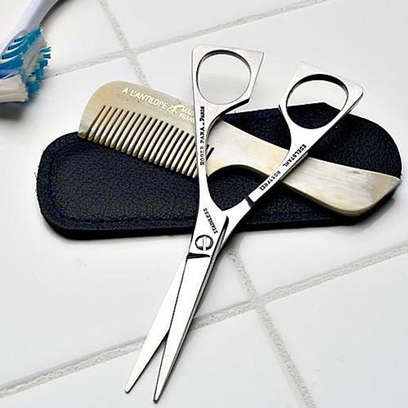 Mustache Trimming Kit (Comb & Scissors)