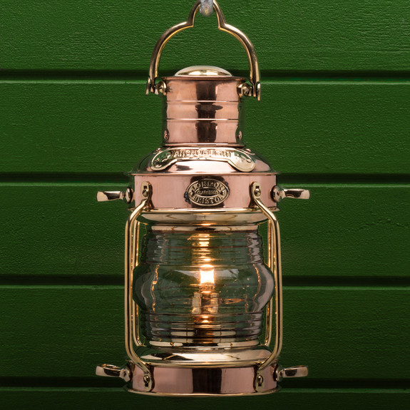 Large Copper & Brass Anchor Oil Lamp