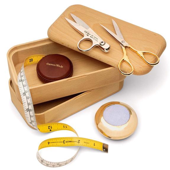 Beechwood Sewing Box & Scissor Set