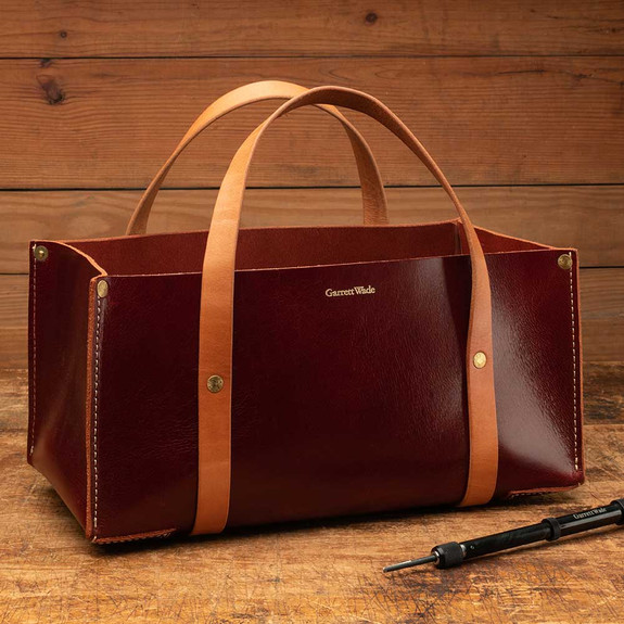 Portable Leather Tool Bag - Deep Red Color