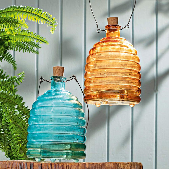 Colored Hand-Blown Glass Insect Traps