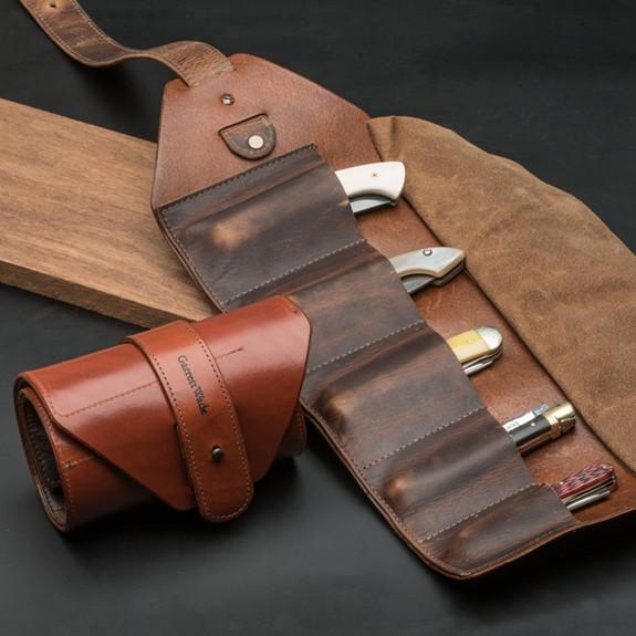 Leather Pocket Knife Tool Rolls