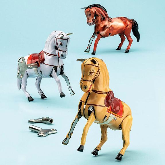 Set of 3 Bucking Horse Windup Toys